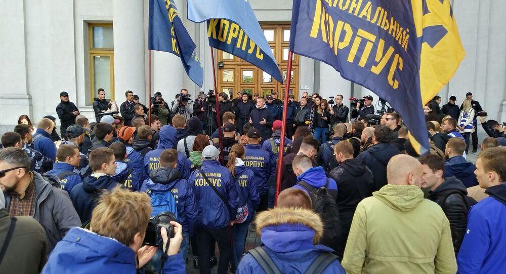 Nacjonaliści protestują pod siedzibą MSZ Ukrainy, żądając wydalenia z kraju węgierskiego konsula