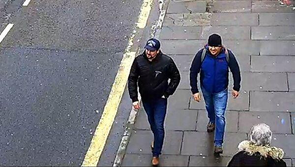 Zdjęcie Aleksandra Pietrowa i Rusłana Boszyrowa podejrzewanych przez policję Londynu o otrucie Siergieja i Julii Skripal na ulicy Fisherton Road w Salisbury - Sputnik Polska