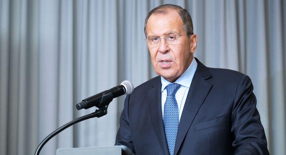 Szef MSZ Rosji Siergiej Ławrow w siedzibie ONZ w Nowym Jorku