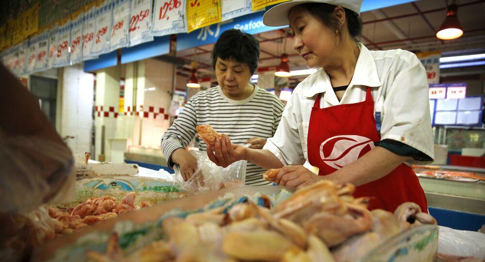 Sprzedaż drobiu w Pekinie