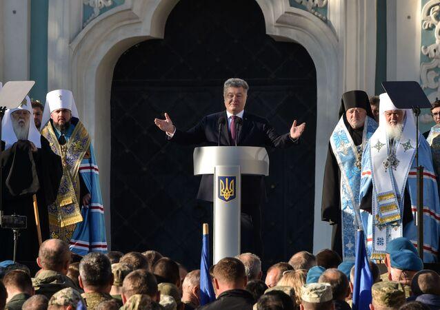 Petro Poroszenko i zwierzchnik Ukraińskiej Cerkwi Prawosławnej  Patriarcha Filaret