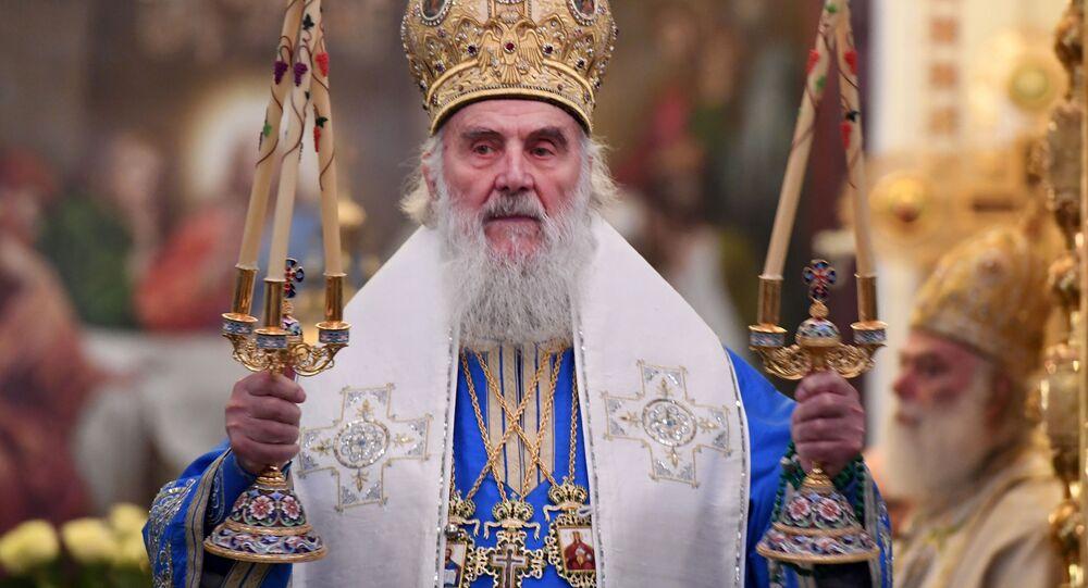 Patriarcha Serbii Ireneusz w czasie liturgii
