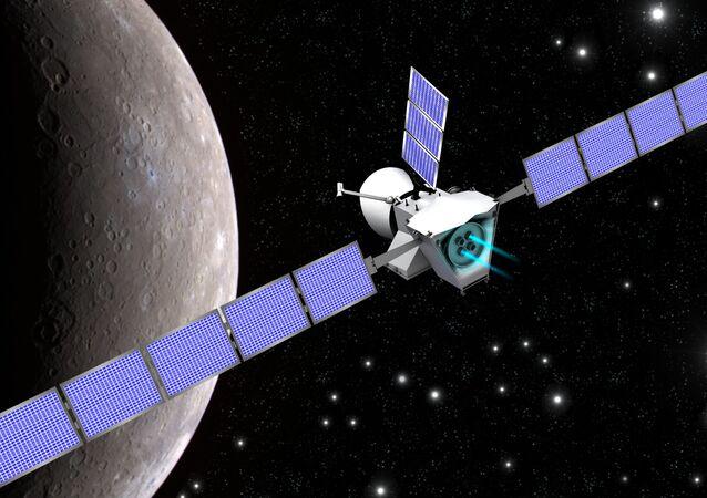 Grafika: BepiColombo przy Merkurym
