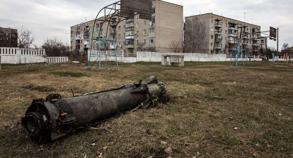 Resztki pocisku po pożarze w składzie amunicji w obwodzie charkowskim