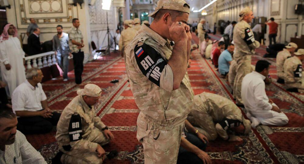 Rosyjscy żołnierze w meczecie w Damaszku