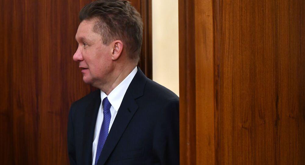Prezes zarządu Gazpromu Aleksiej Miller przed ceremonią podpisania dokumentów dotyczących rezultatów rosyjsko-serbskich negocjacji