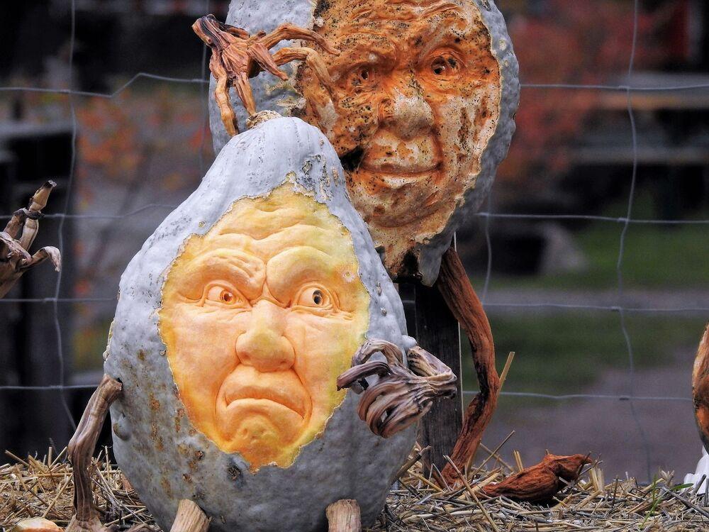 Wizerunek twarzy stworzony na dyni