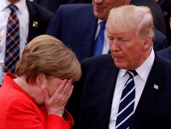 Angela Merkel z Donaldem Trumpem - Sputnik Polska