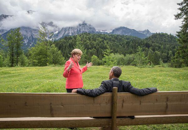 Angela Merkel i Barack Obama w południowych Niemczech, 2015 rok. - Sputnik Polska