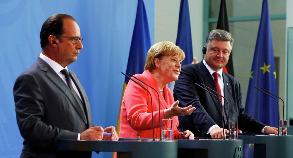 Angela Merkel, Francois Hollande i Petro Poroszenko