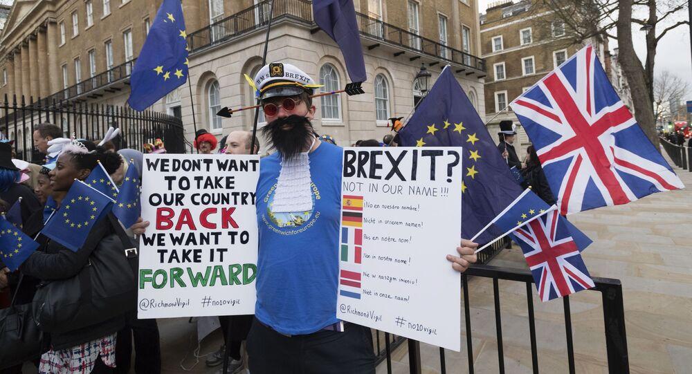 Przeciwnik wyjścia Wielkiej Brytanii z Unii Europejskiej (UE) na ulicy Londynu
