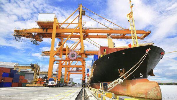 Załadunek kontenera na statek handlowy - Sputnik Polska
