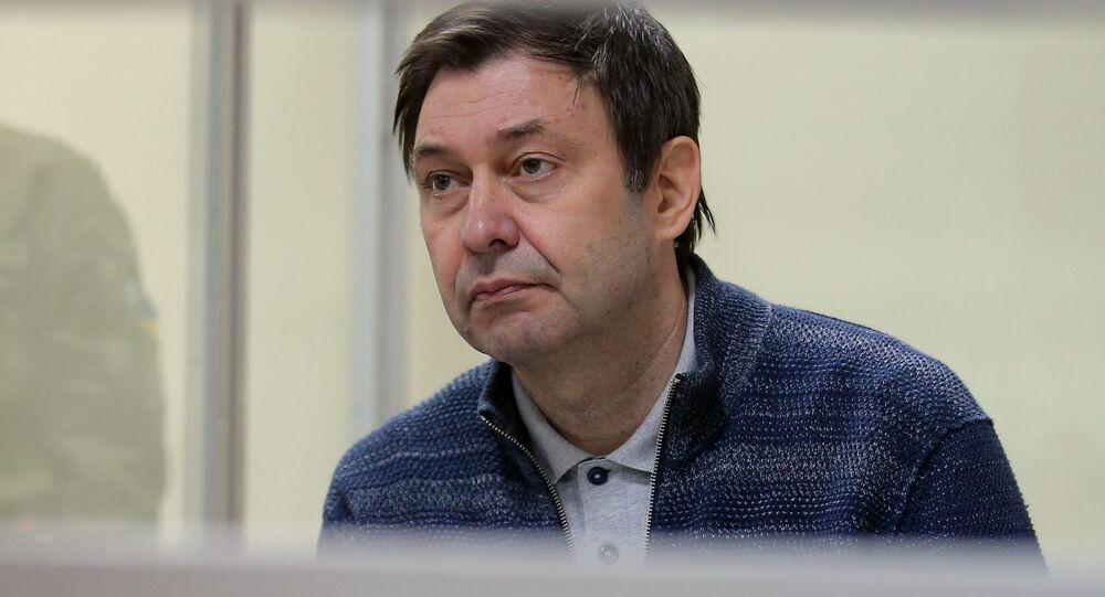 Kierownik portalu Ria Novosti Ukraina Kirił Wyszynski na posiedzeniu w Chersońskim Sądzie Apelacyjnym