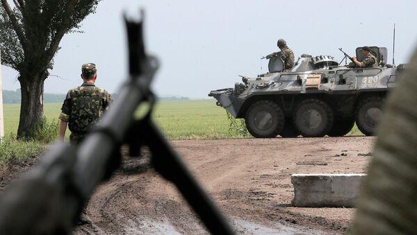 Ukraińska armia w strefie konfliktu na wschodzie Ukrainy. Zdjęcie archiwalne - Sputnik Polska