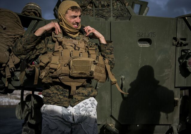 Żołnierz w czasie manewrów Trident Juncture 2018
