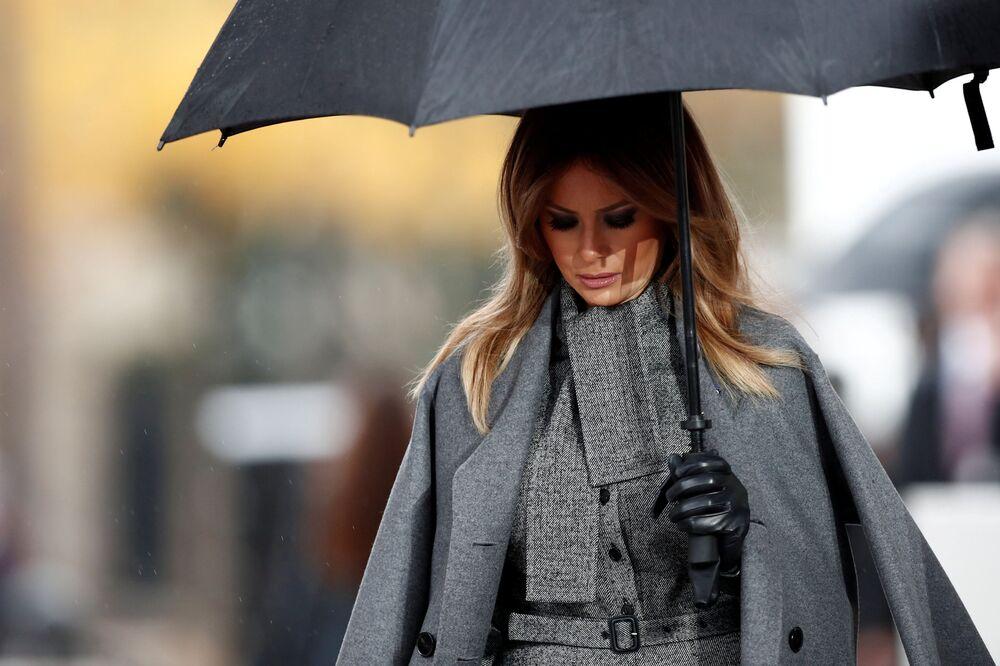 Pierwsza dama USA Melania Trump na uroczystościach pod Łukiem Triumfalnym w Paryżu z okazji 100. rocznicy zakończenia I wojny światowej