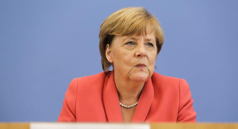 Kanclerz Niemiec Angela Merkel na konferencji prasowej w Berlinie