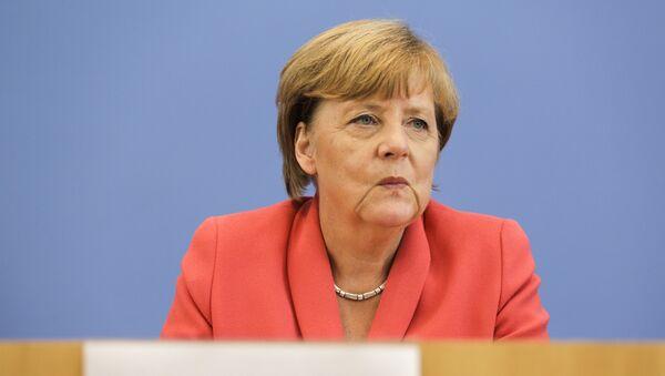 Kanclerz Niemiec Angela Merkel na konferencji prasowej w Berlinie - Sputnik Polska