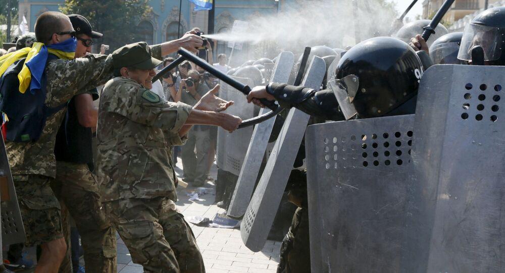 Starcia protestujących z milicją pod budynkiem Rady Najwyższej w Kijowie