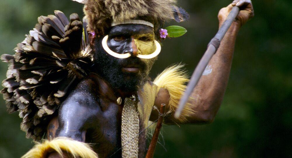 Indianin z plemienia Dani podczas polowania, Nowa Gwinea