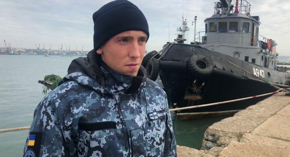 """Marynarz kutra Marynarki Wojennej Ukrainy """"Nikopol"""" Siergiej Cybizow, zatrzymany na kutrze w rejonie Cieśniny Kerczeńskiej za przekroczenie granicy Rosji"""