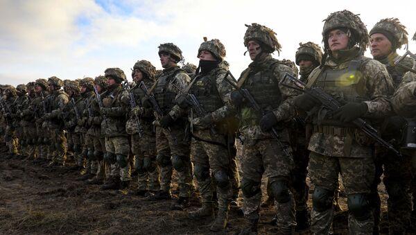 Uczestnicy ćwiczeń taktycznych wojsk desantowo-szturmowych w obwodzie żytomierskim - Sputnik Polska