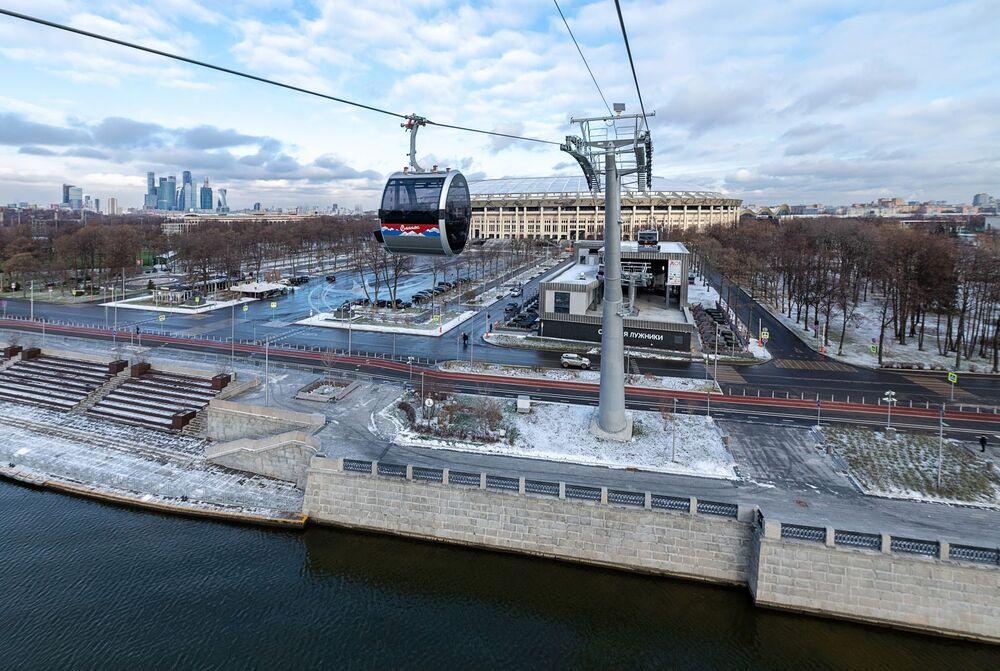 Kolejka linowa na Wzgórzach Worobiowych w Moskwie