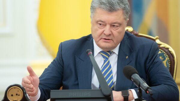 Petro Poroszenko na posiedzeniu Rady Bezpieczeństwa i Obrony Ukrainy w Kijowie - Sputnik Polska