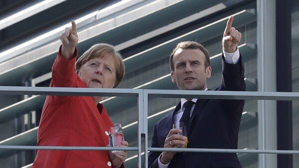 Angela Merkel i Emmanuel Macron w Berlinie, 2018 rok  - Sputnik Polska