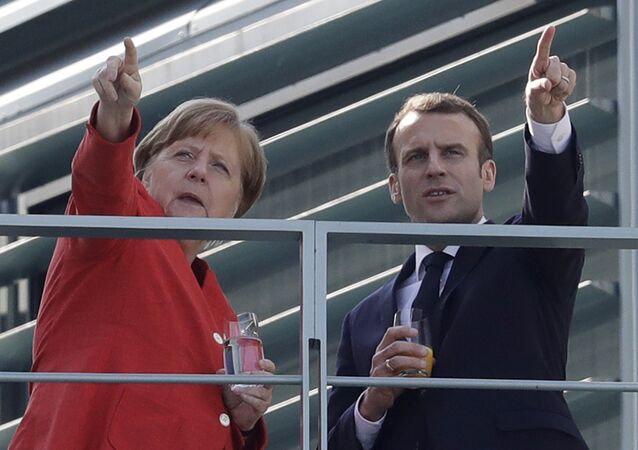 Angela Merkel i Emmanuel Macron w Berlinie, 2018 rok