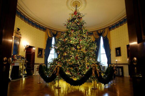 Oficjalna choinka w Niebieskim Pokoju Białego Domu w Waszyngtonie - Sputnik Polska