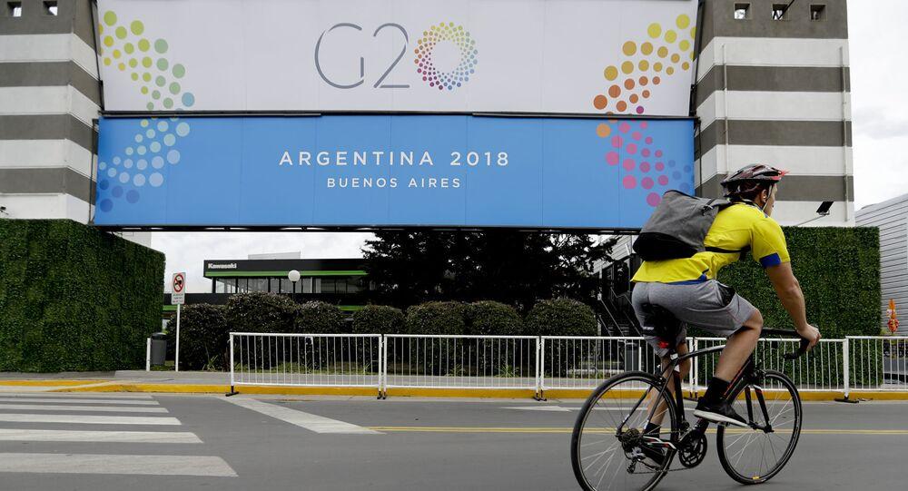 Baner z logo szczytu G20 w Argentynie