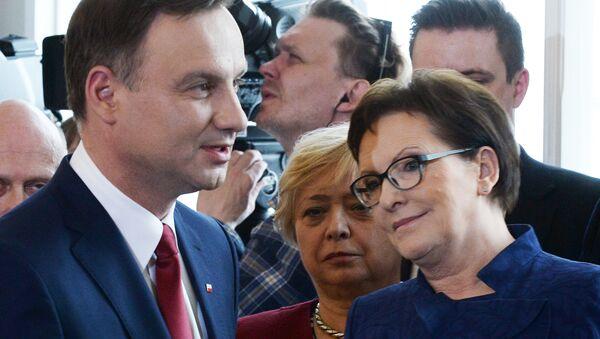Prezydent Polski Andrzej Duda i premier Ewa Kopacz - Sputnik Polska