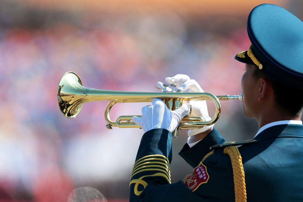 Wojskowy orkiestry Chńskiej Armii Ludowo-Wyzwoleńczej podczas defilady z okazji 70. rocznicy zwycięstwa w II wojnie światowej