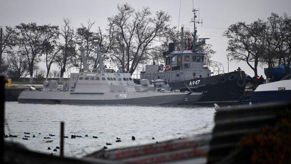 Zatrzymane ukraińskie okręty w porcie w Kerczu - Sputnik Polska