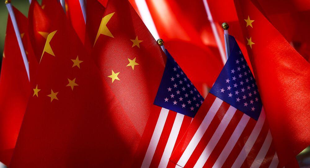 Flagi USA i Chin.