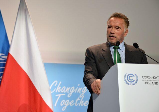 Amerykański kulturysta, przedsiębiorca i aktor Arnold Schwarzenegger na 24 konferencji ONZ ws. zmian klimatu (COP24) w Katowicach