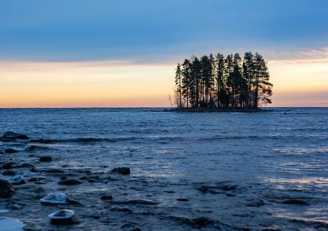 Wyspa na jeziorze Onega w Republice Karelii