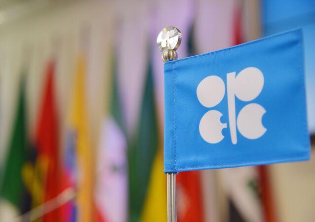 Flaga OPEC na posiedzeniu w Wiedniu.