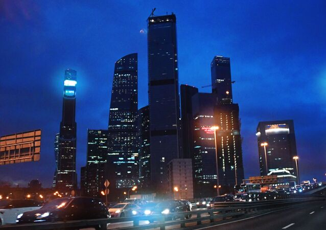 Drapacze chmur centrum biznesowego Moscow City