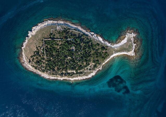 Wyspa w kształcie rybki w Chorwacji