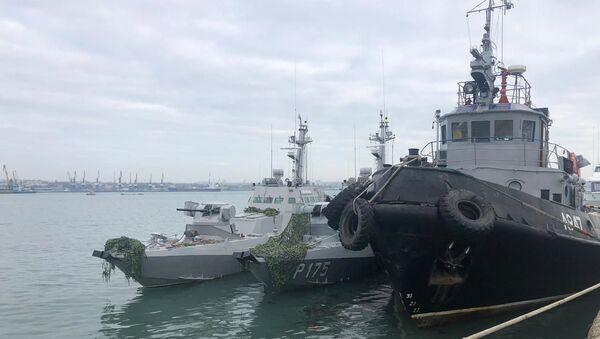 Zatrzymane ukraińskie okręty dostarczono do portu Kercz - Sputnik Polska