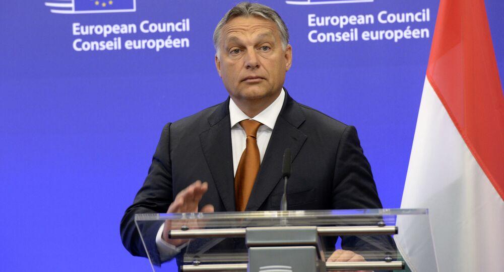Premier Węgier Victor Orban podczas wystąpienia w Brukseli
