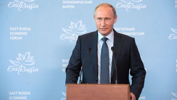 Prezydent Rosji Władimir Putin na sesji plenarnej Wschodniego Forum Ekonomicznego - Sputnik Polska