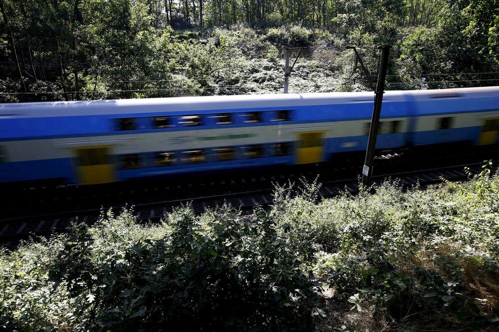Pociąg przejeżdża w pobliżu Wałbrzycha