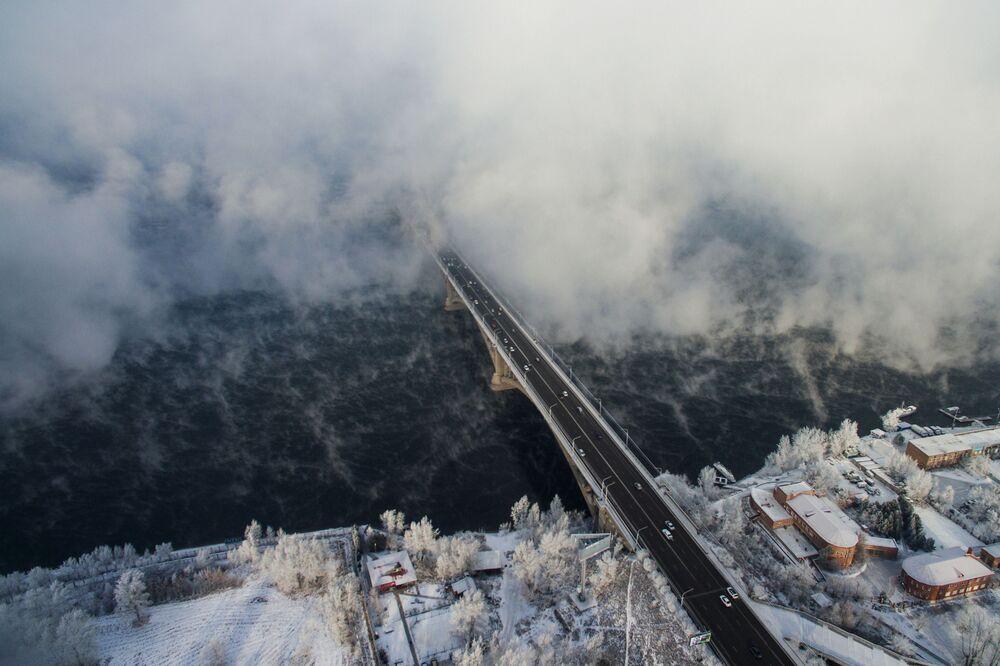 Most nad rzeką Jenisej w Krasnojarsku