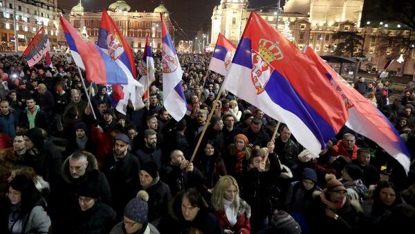 Антиправительственные протесты в Сербии - Sputnik Polska
