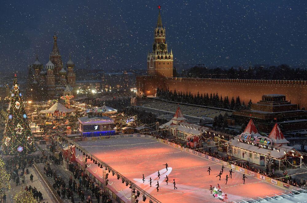 Lodowisko GUM na Placu Czerwonym w Moskwie