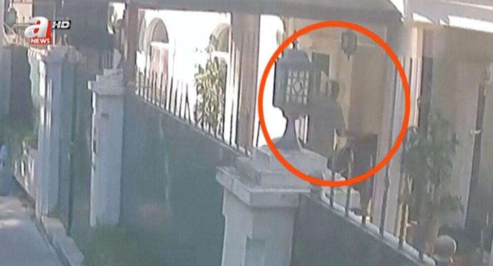 Kadr z nagrania monitoringu w dniu zabójstwa Dżamala Chaszodżdżiego