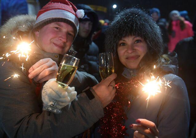 Powitanie Nowego Roku 2019 przy głównej choince w Kazaniu